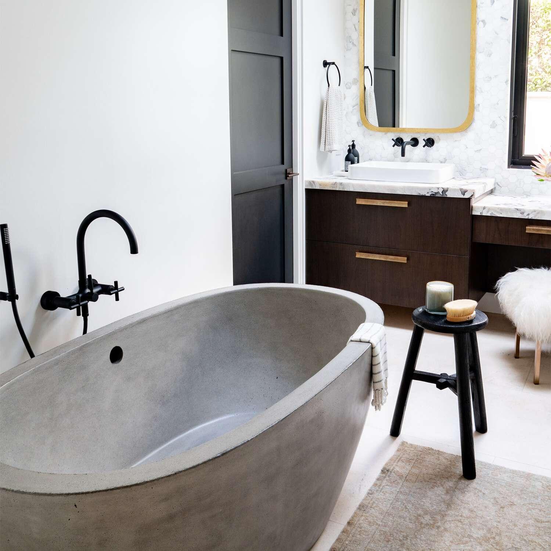 freestanding tub in a bathroom