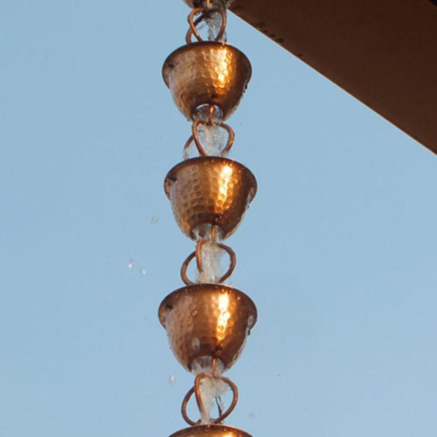 Hammered Copper Rain Cups