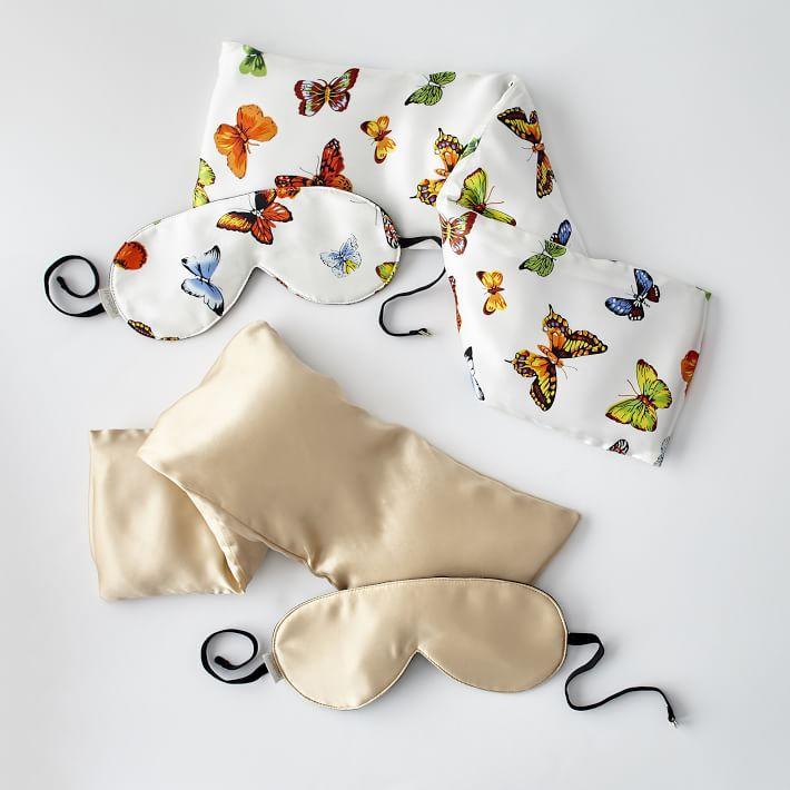 Set de almohadas para el cuello y mascarilla de seda
