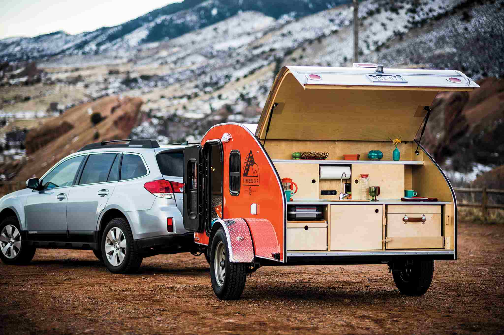 A Timberleaf tear drop camper trailer