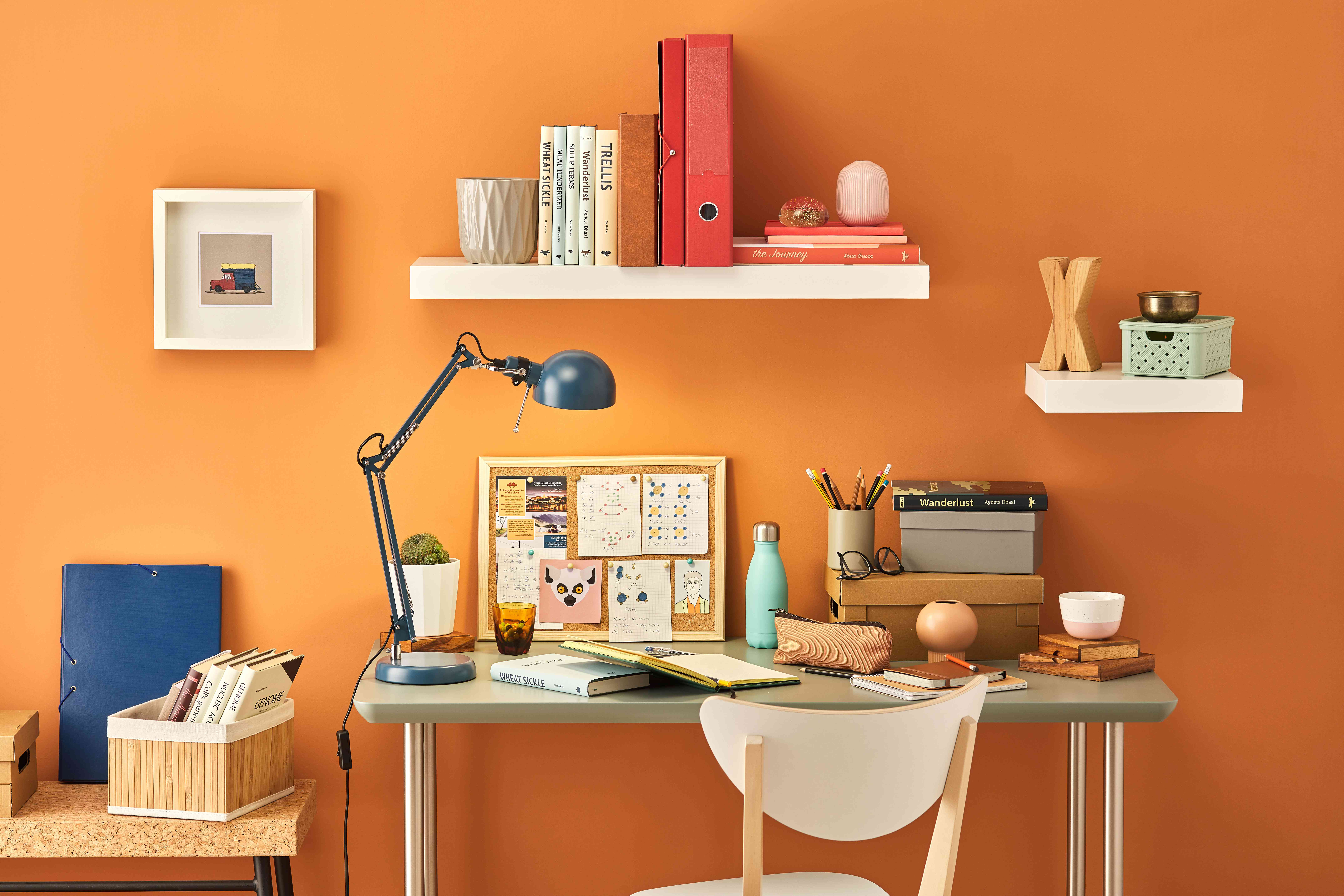 warm color palette in an office