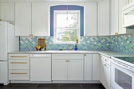 Blue Walls Backsplash White Cabinets Kitchen