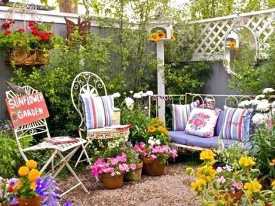 Rustic Garden with Vintage Furniture