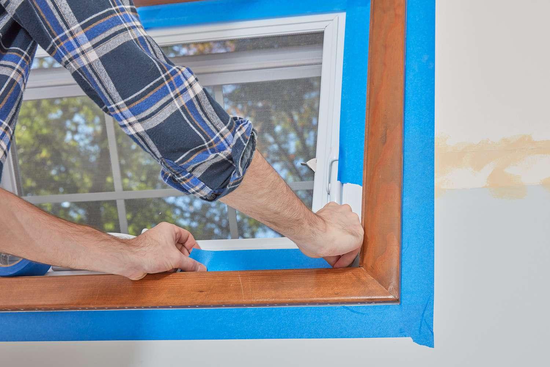 Tape bottom of interior window trim