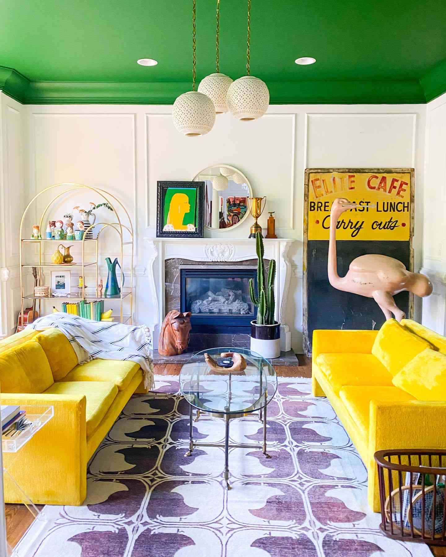 green colored ceiling