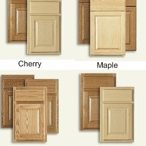 Kitchen cabinet wood in cherry, maple, oak, and birch.
