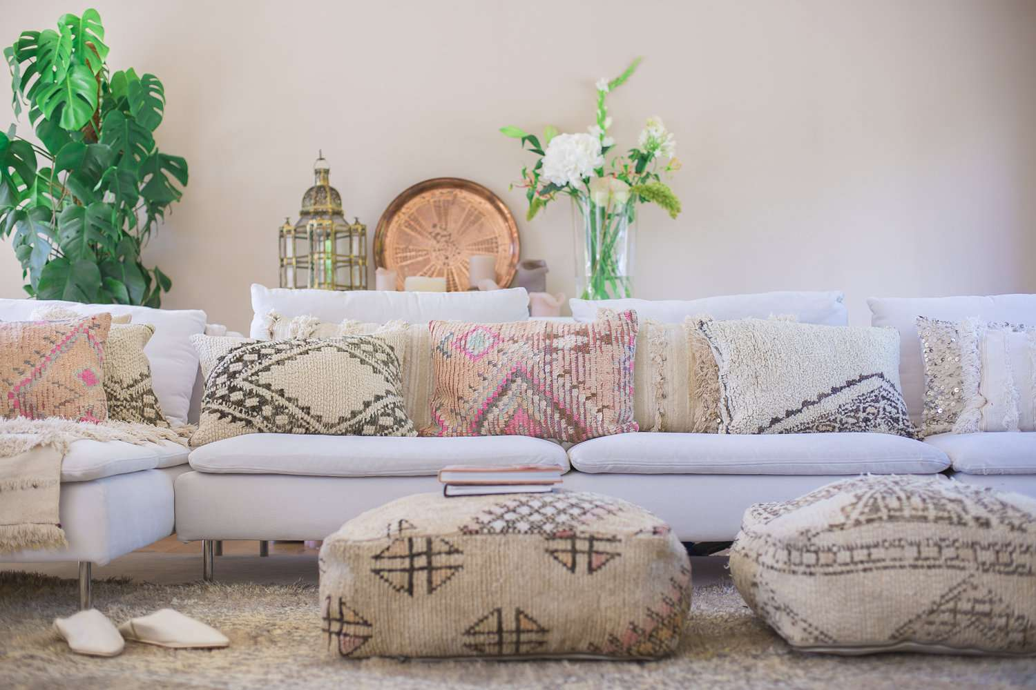 Moroccan style living room with pastel touches