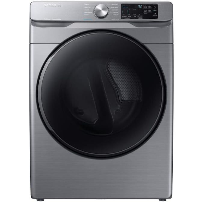 The Samsung DVE45R6100P 7.5 cu. ft. Stackable Electric Dryer with Steam has a reversible door and operates quietly.