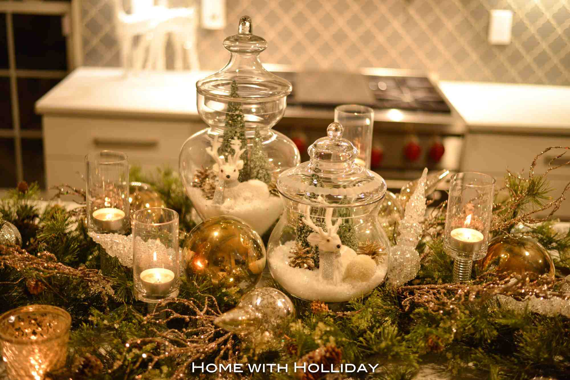 Apothecary jars used as a centerpiece.