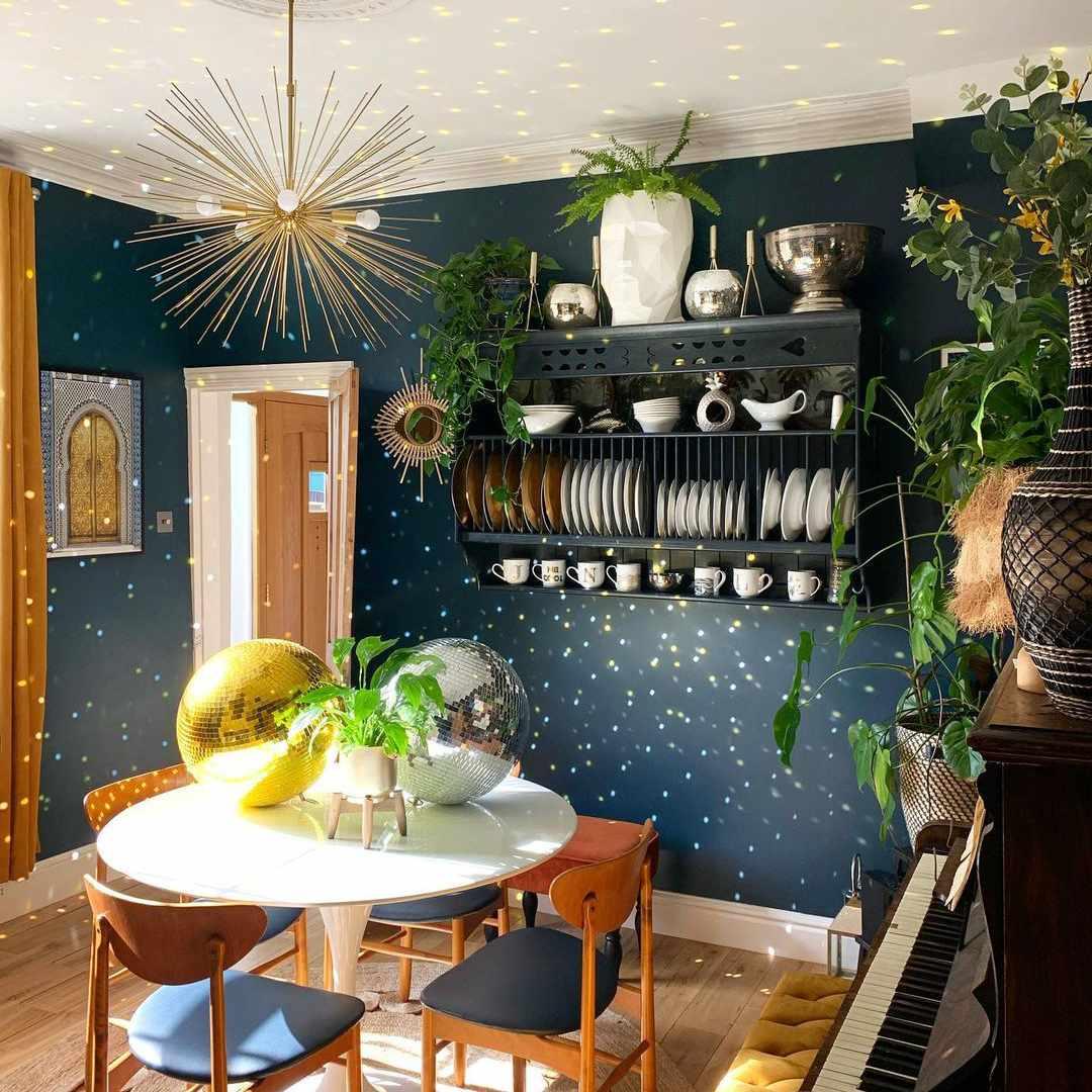 sparkling blue dining room
