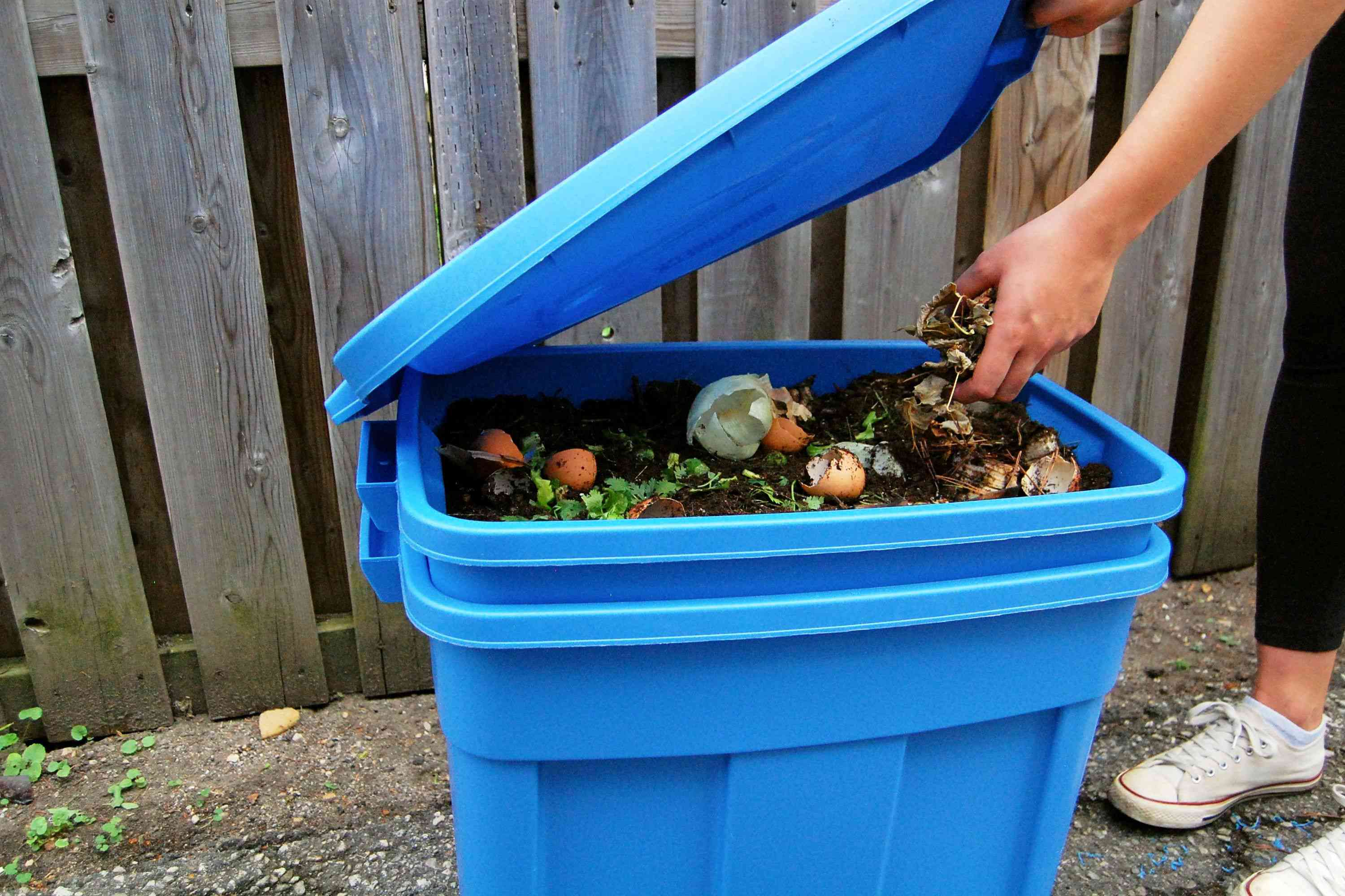 maintaining the compost bin