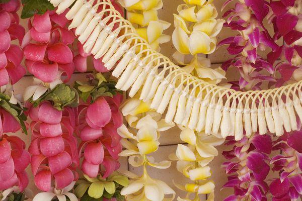 hanging floral leis