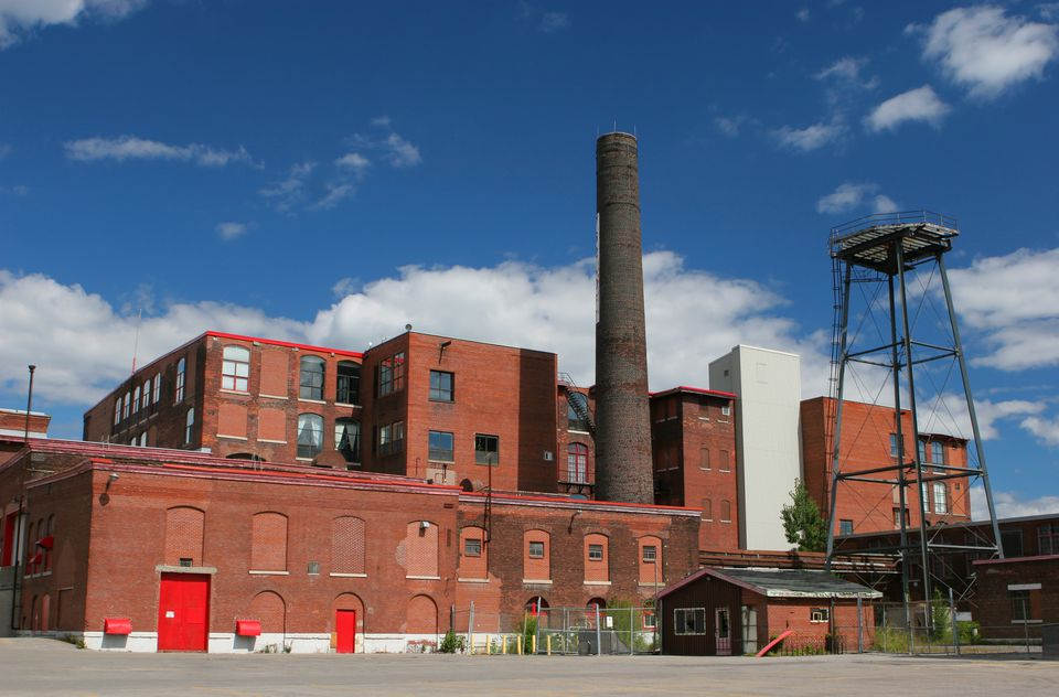 Large and Old Brick Industrial Building