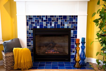 Blue Ceramic Tile Fireplace