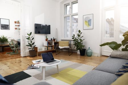 581360581954d modern apartment with greenery accents