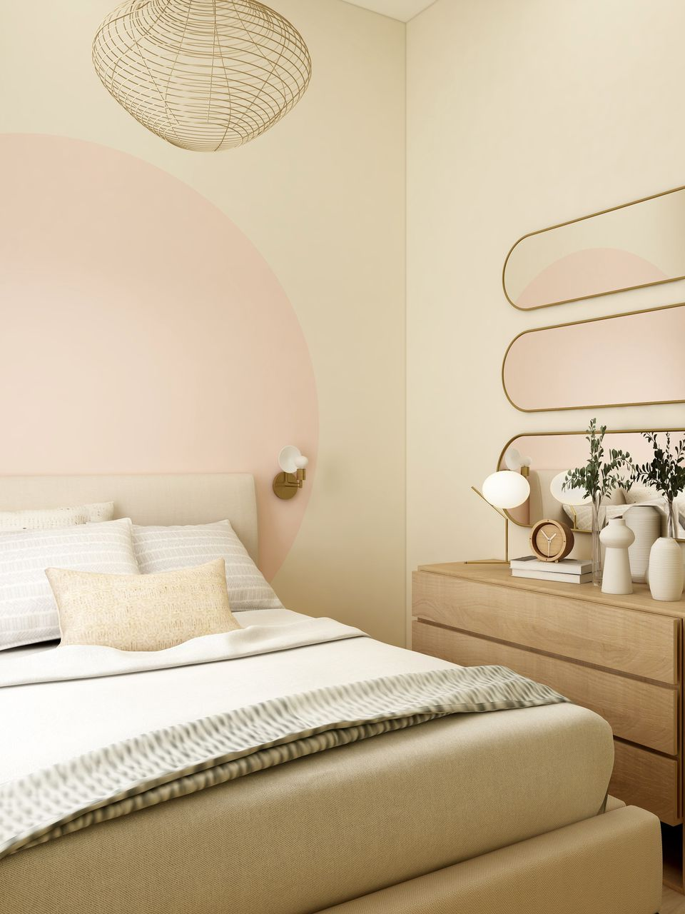 neutral cream and pink bedroom