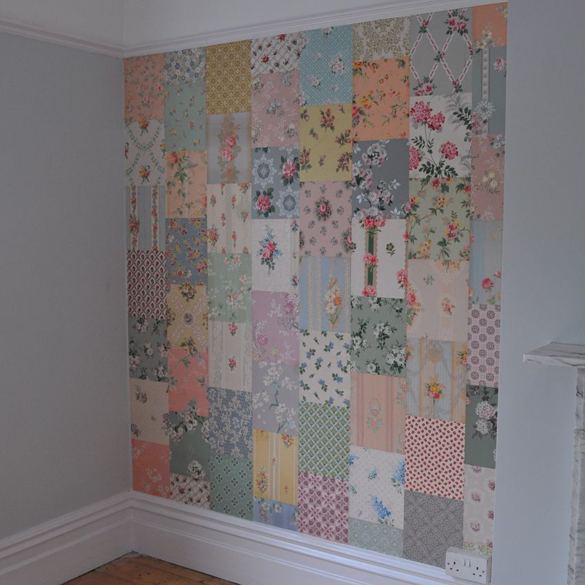 Patchwork accent wall made using scraps of vintage wallpaper