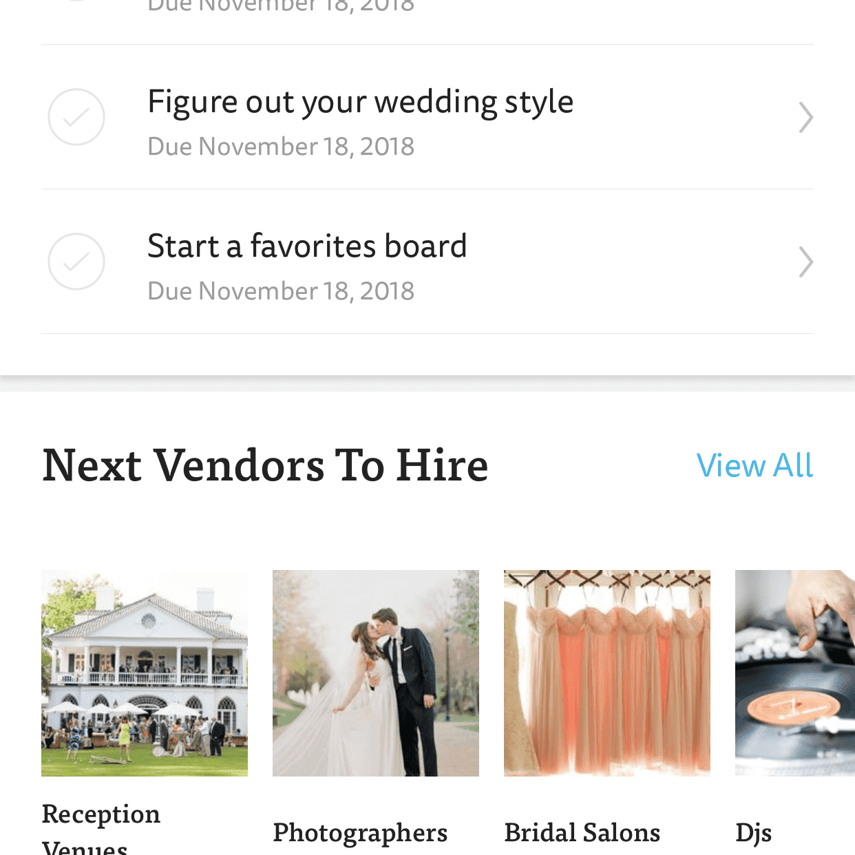 A wedding checklist on The Knot Wedding app