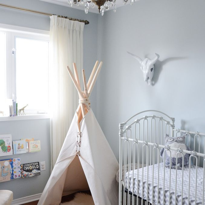 Neutral grey nursery with tribal-inspired accents