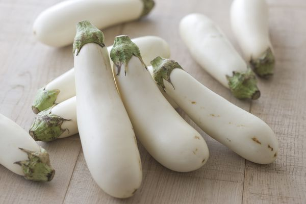 white eggplant on a wooden countertop