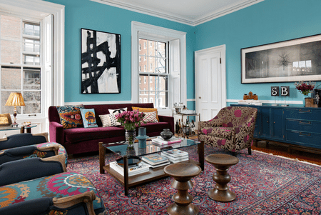 Colorful Living Room With Blue Walls