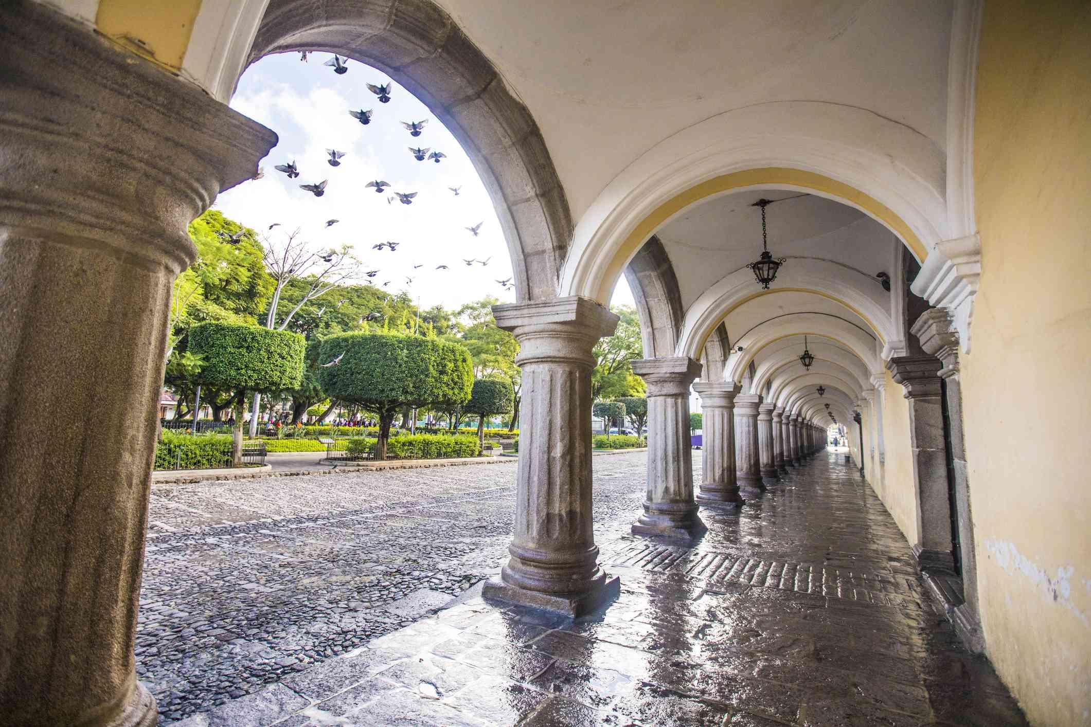 Archways in a hacienda-style building.