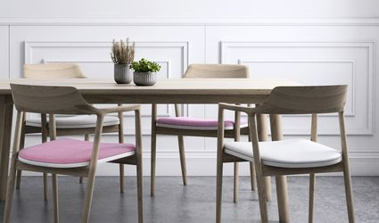 Dining room with concrete floors, light wood dining set, white wainscotting, and plants.