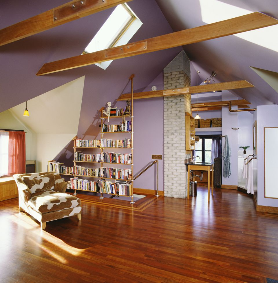 Bookcase of Copper Pipes by Stairway to Attic Room