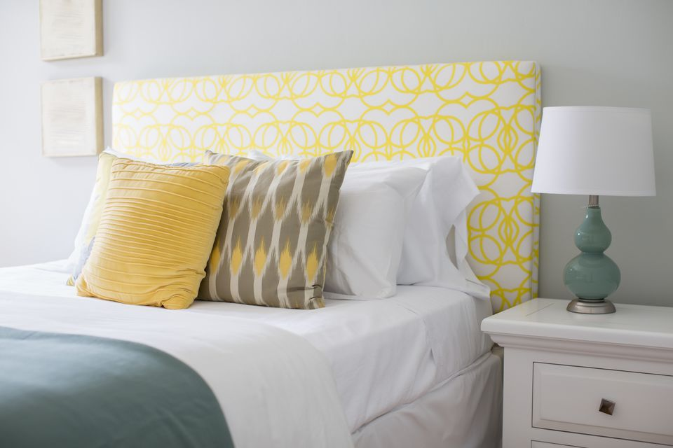 Bed and nightstand in modern bedroom