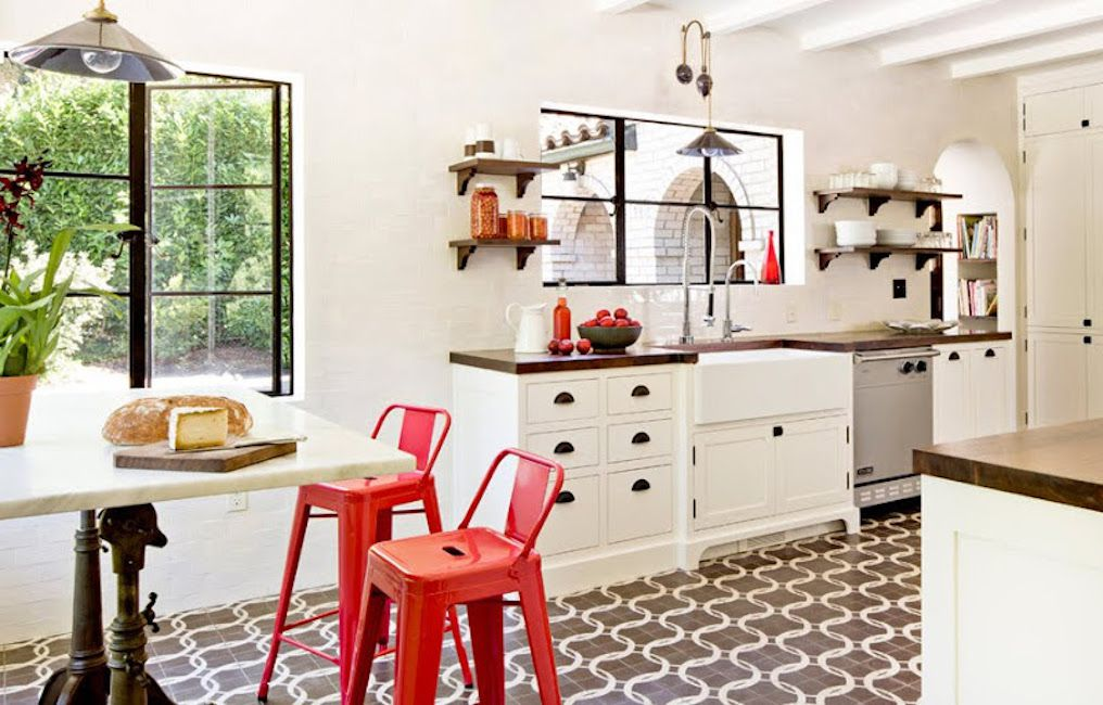 kitchen with bright red chairs