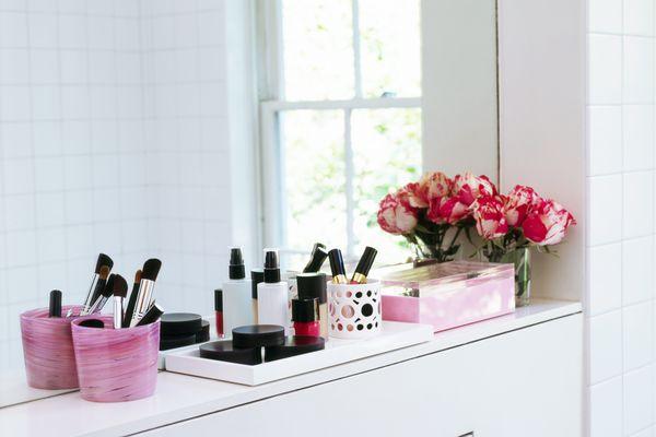 Makeup in bathroom
