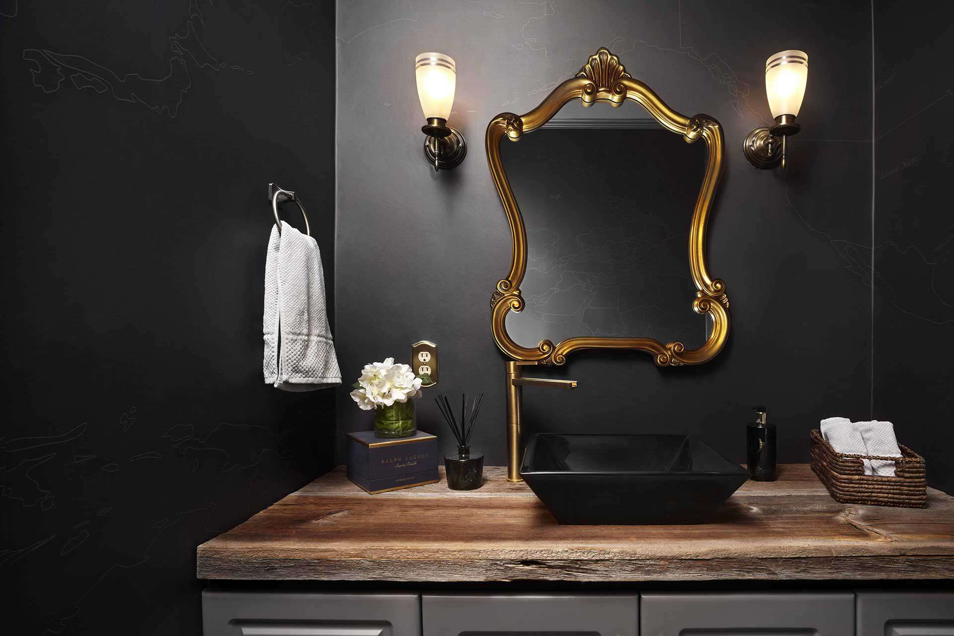 black farmhouse bathroom