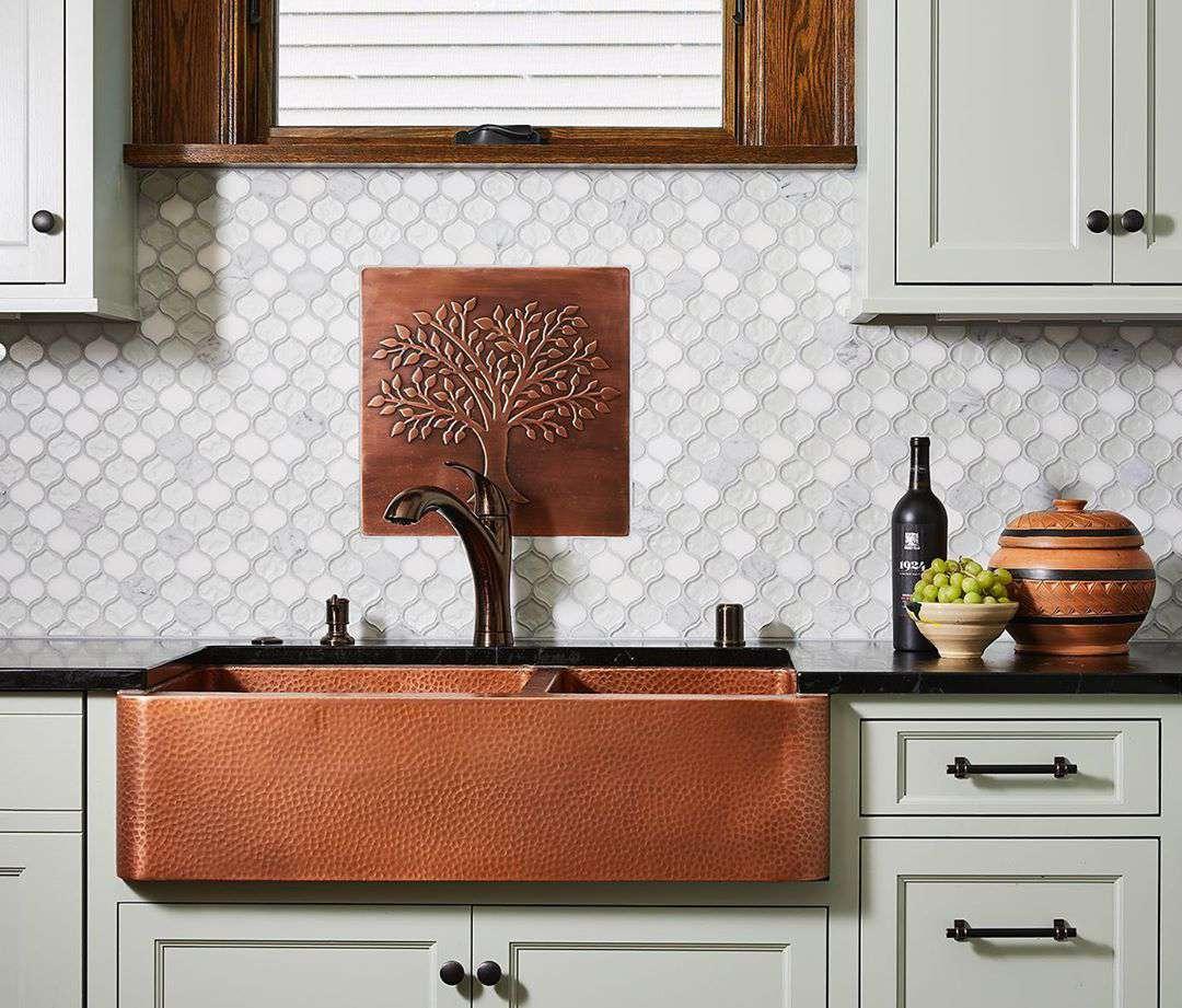 Kitchen with copper sink