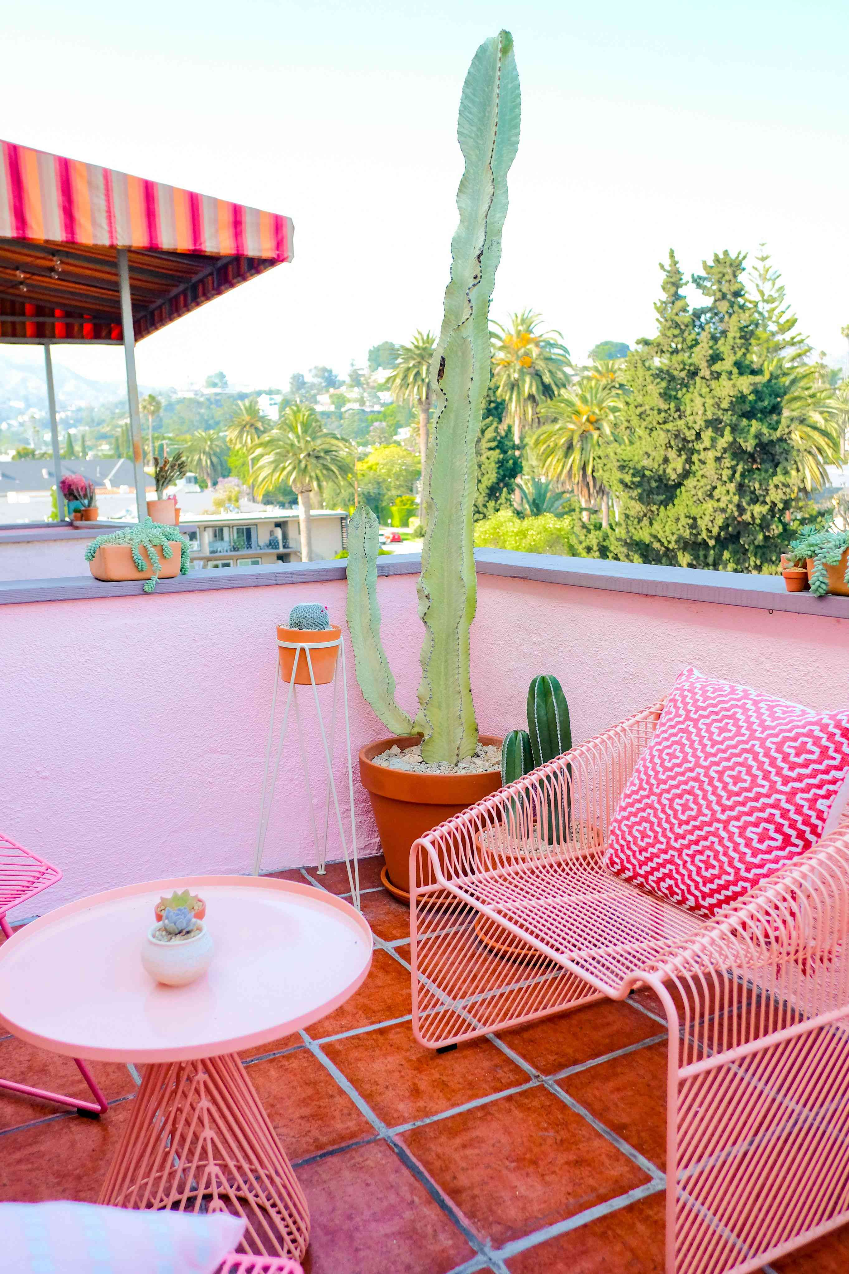 backyard patio with pink furniture and cacti