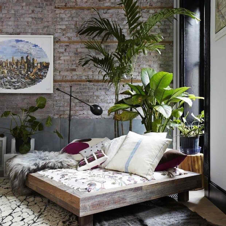 boho bedroom with platform bed