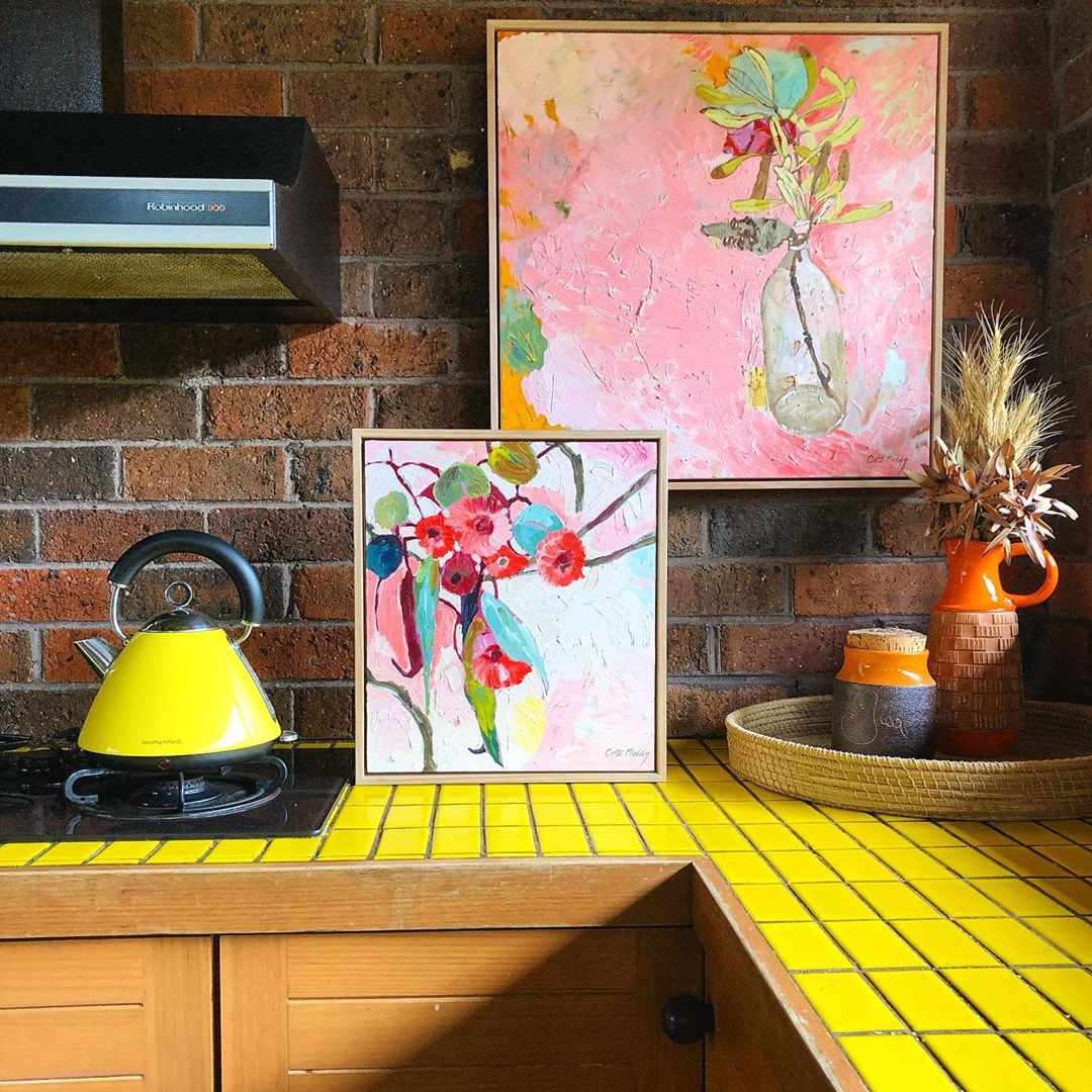 Kitchen with a yellow countertop