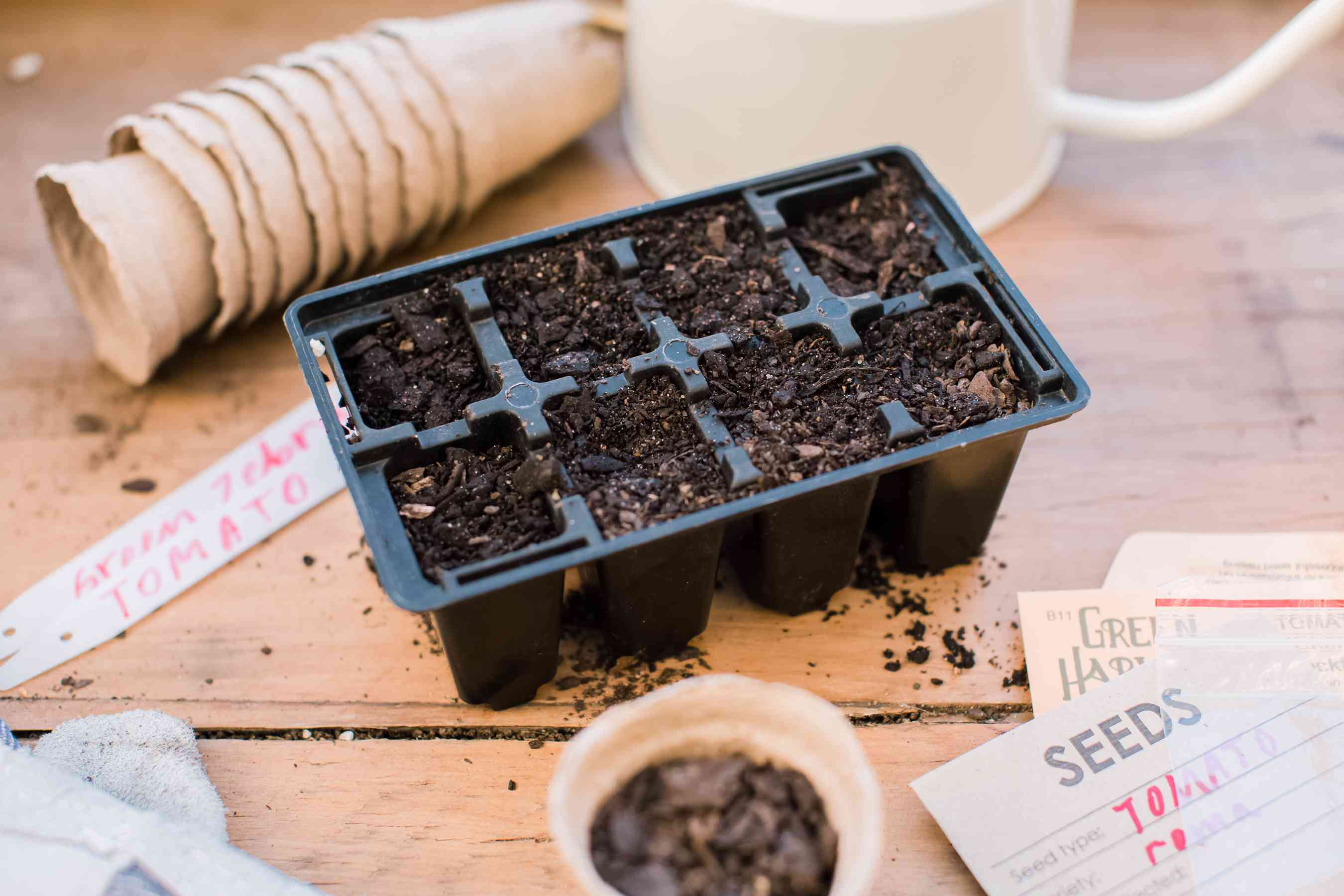 preparing the containers for planting