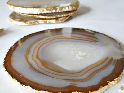 DIY Gold Agate Coasters