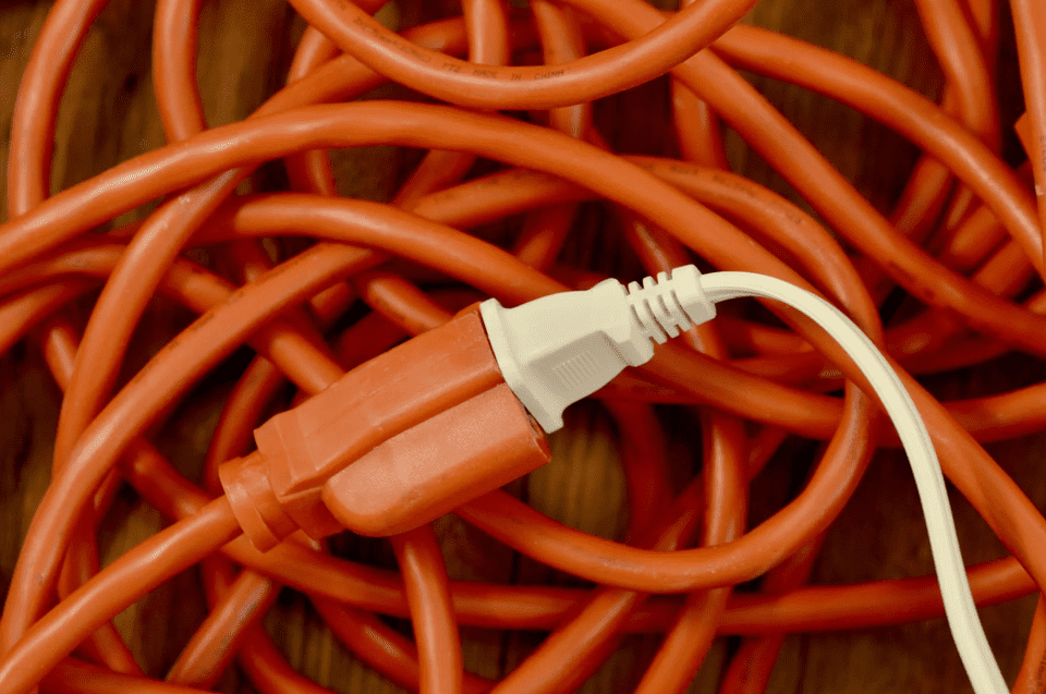 two power cords connected