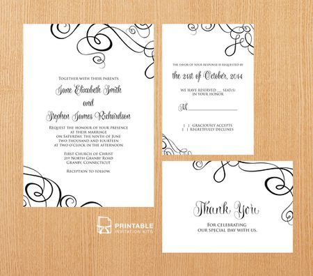 Swirling Ribbons Printable Wedding Invitations