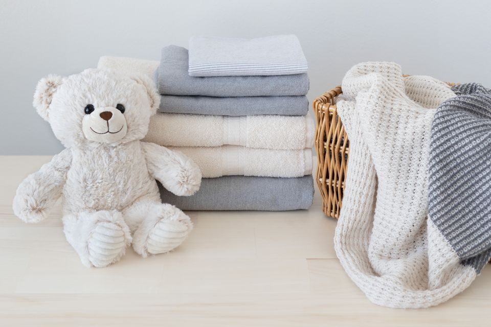 Clean Laundry With Teddy Bear