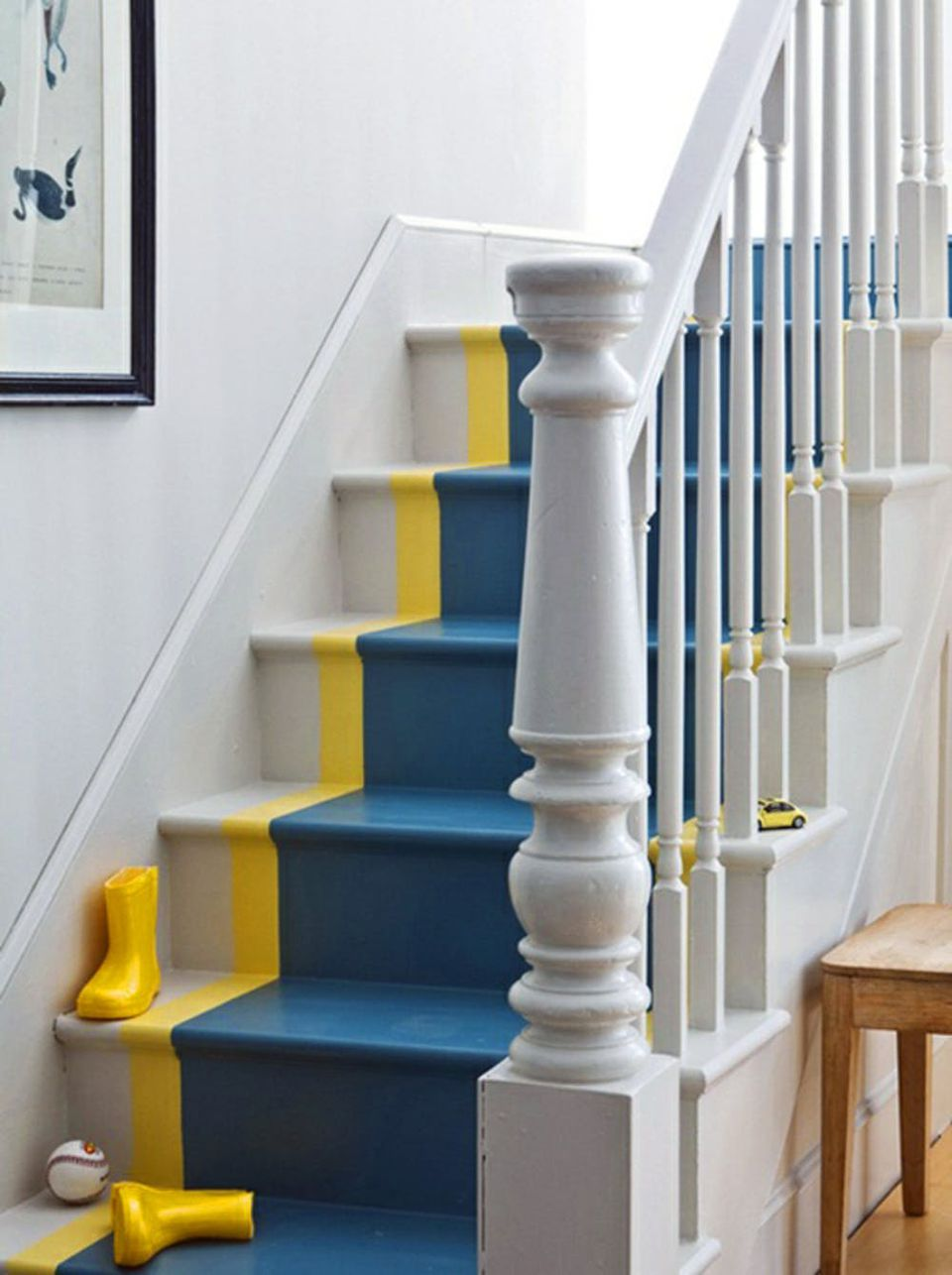 green and yellow painted stairs