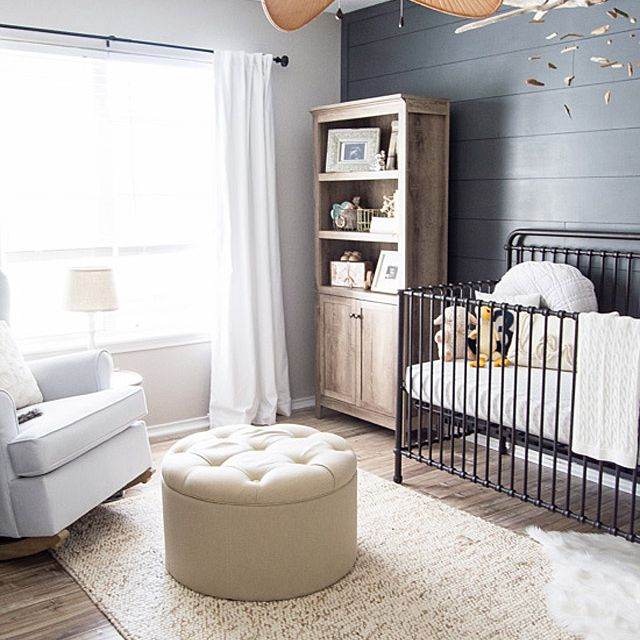 Neutral coastal-themed nursery in charcoal and light gray