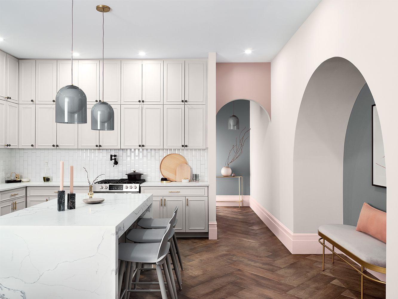 Kitchen with pastel shades