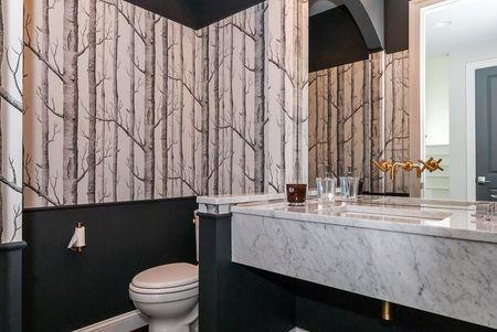 Black Bathroom With Birch Forest Wallpaper