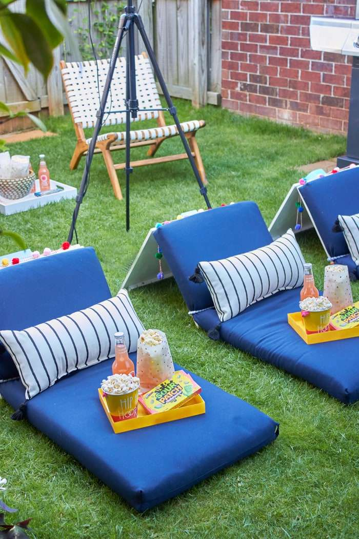 DIY movie seats on a lawn