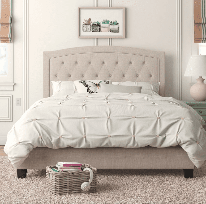 Gold Flamingo Teen Milo Solid Wood Tufted Upholstered Low Profile Standard Bed