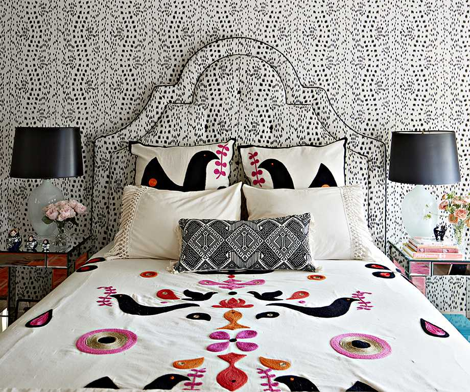 headboard with matching wallpaper