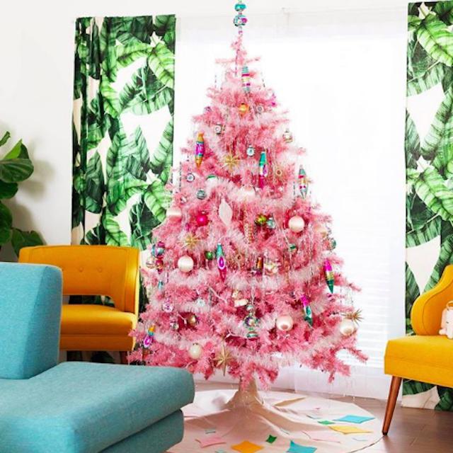 bright neon pink christmas tree