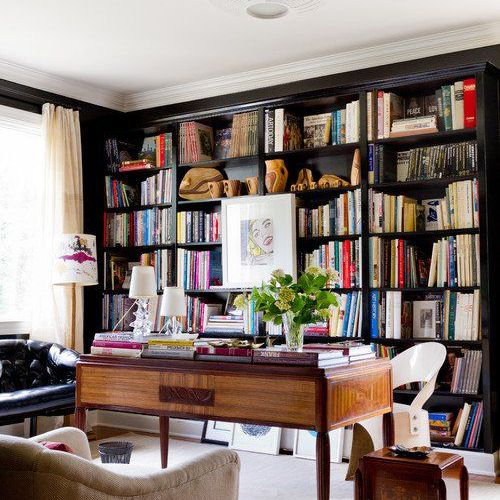 Home library with art